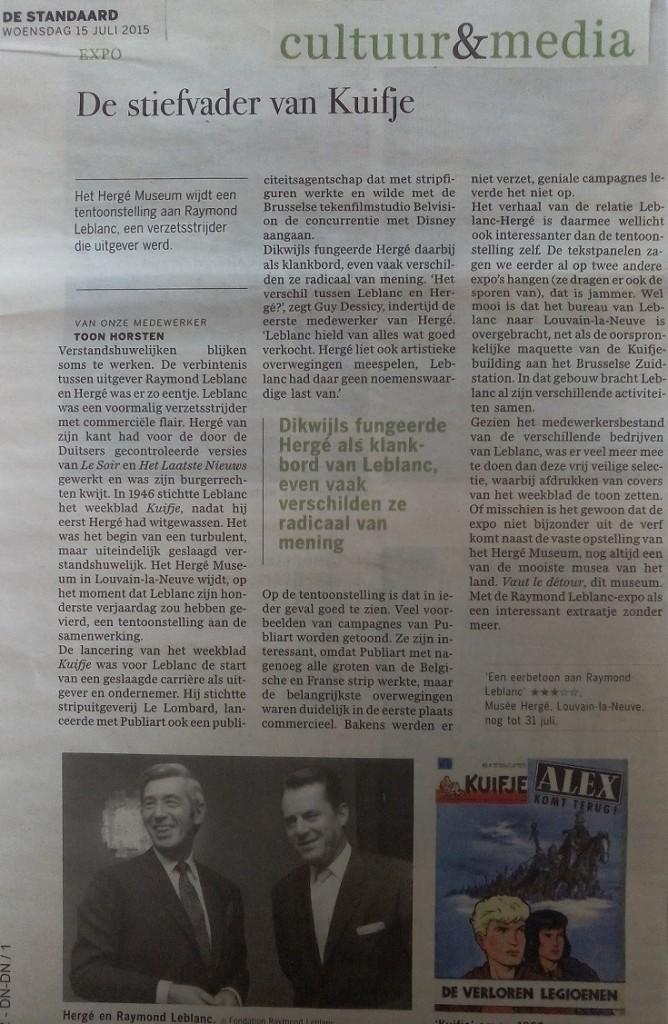 ArticleStandaard Raymond Leblanc